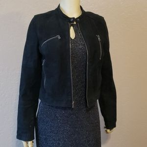 Levi's black sued leather jacket M Biker punker